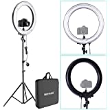 Neewer® Photo Video Ring Fluorescent Flash Light Kit, includes (1) 18in/45cm Dimmable 75W 5500K Ring Light+(1) 75inch/190cm Light Stand+(1) Mini Ball Head and Hot Shoe Adapter Camera Cradle