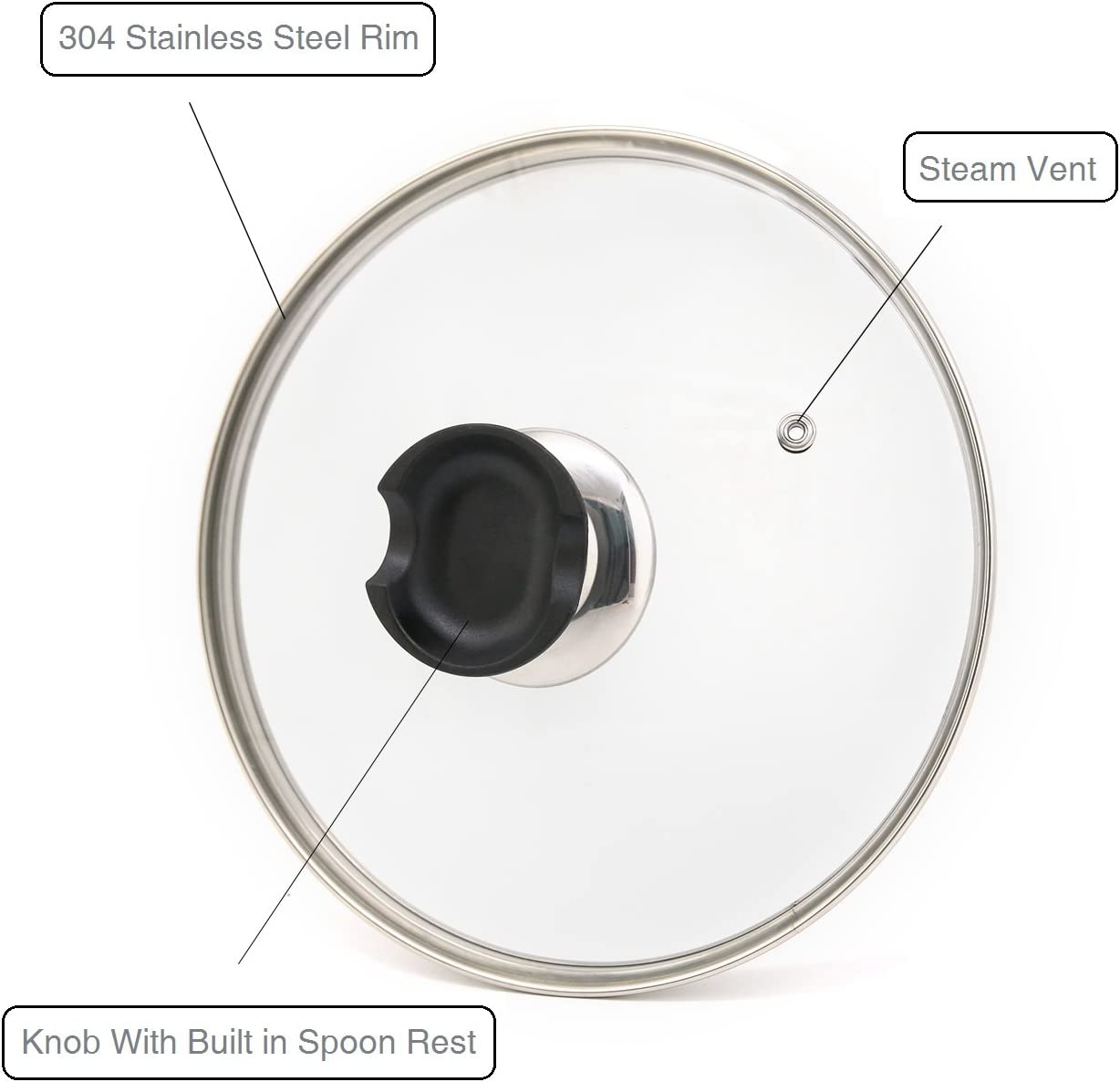 9 inch Tempered Glass Lid Accessory for Instant Pot 5 and 6 Quart Pressure Cooker Universal Pan Pot Clear Cookware Lid//Cover with Spoon Rest//Holder Knob Handle Design Steam Vent and Thermometer Slot Hoople