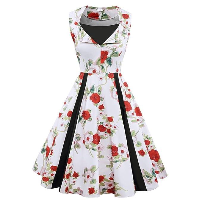 Damen Knielang Kleider,Kanpola Vintage Retro Rockabilly Hepburn Stil ...