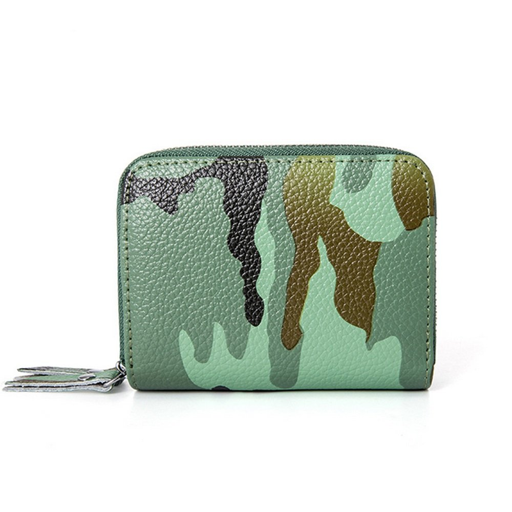 Wallets for Women Camouflage style leather money clip bag RFID Wallet with coin purse (Green)