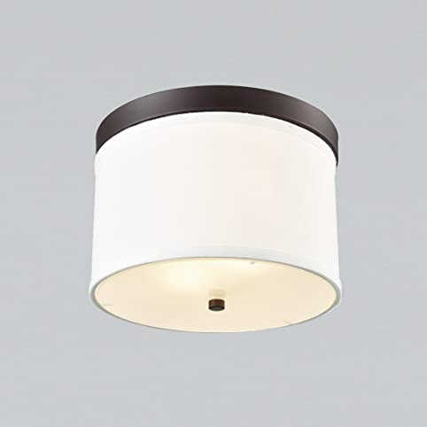 Axiland white linen fabric flush mount 2 light ceiling light fixture axiland white linen fabric flush mount 2 light ceiling light fixture with oil rubbed bronze aloadofball Image collections