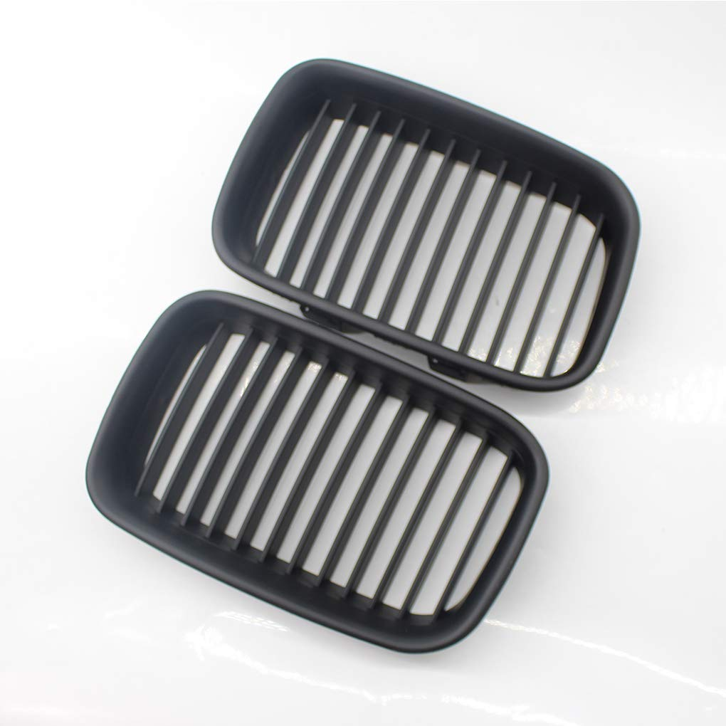 OmkuwlQ 1 Pair Matte Black Front Hood Kidney Grille Grill for BMW 3 Series E36 M3 92-96