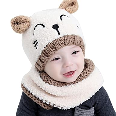 caa9b3b769e Adorable Baby Boy Girls Warm Knit Bear Hat and Scarf Toddler Winter Crochet  Beanie Cap Set