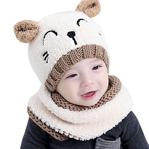 Adorable Baby Boy Girls Warm Knit Bear Hat and Scarf Toddler Winter Crochet  Beanie Cap Set cee1843e29b