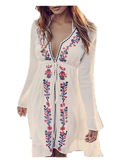 e2b22f05d2e40 Leright Women's Swim Beach Dress Embroideried Swimsuit Cover up Tunic  Beachwear, White, One Size Fit For S-XL at Amazon Women's Clothing store: