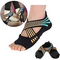 Tbest Calcetines de Yoga Antideslizantes para Mujeres, Calcetines de Yoga Pilates Calcetines de Agarre de Yoga con puños Antideslizantes Zapatos de Entrenamiento de Baile con Dedos para Ball