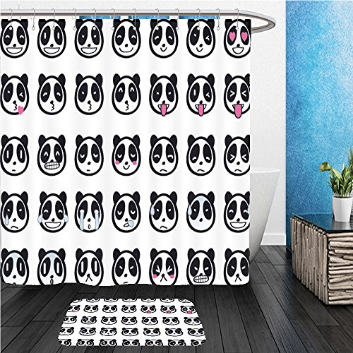 Beshowereb Bath Suit: ShowerCurtian & Doormat cute panda emoji - Falcon Emoji