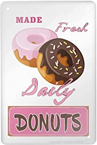 """ANJOOY Metal Tin Sign - Made Fresh Daily Donuts - Funny Plaque Poster for Home Kitchen Cafe Bar Signs Wall Decor 8""""X12"""""""