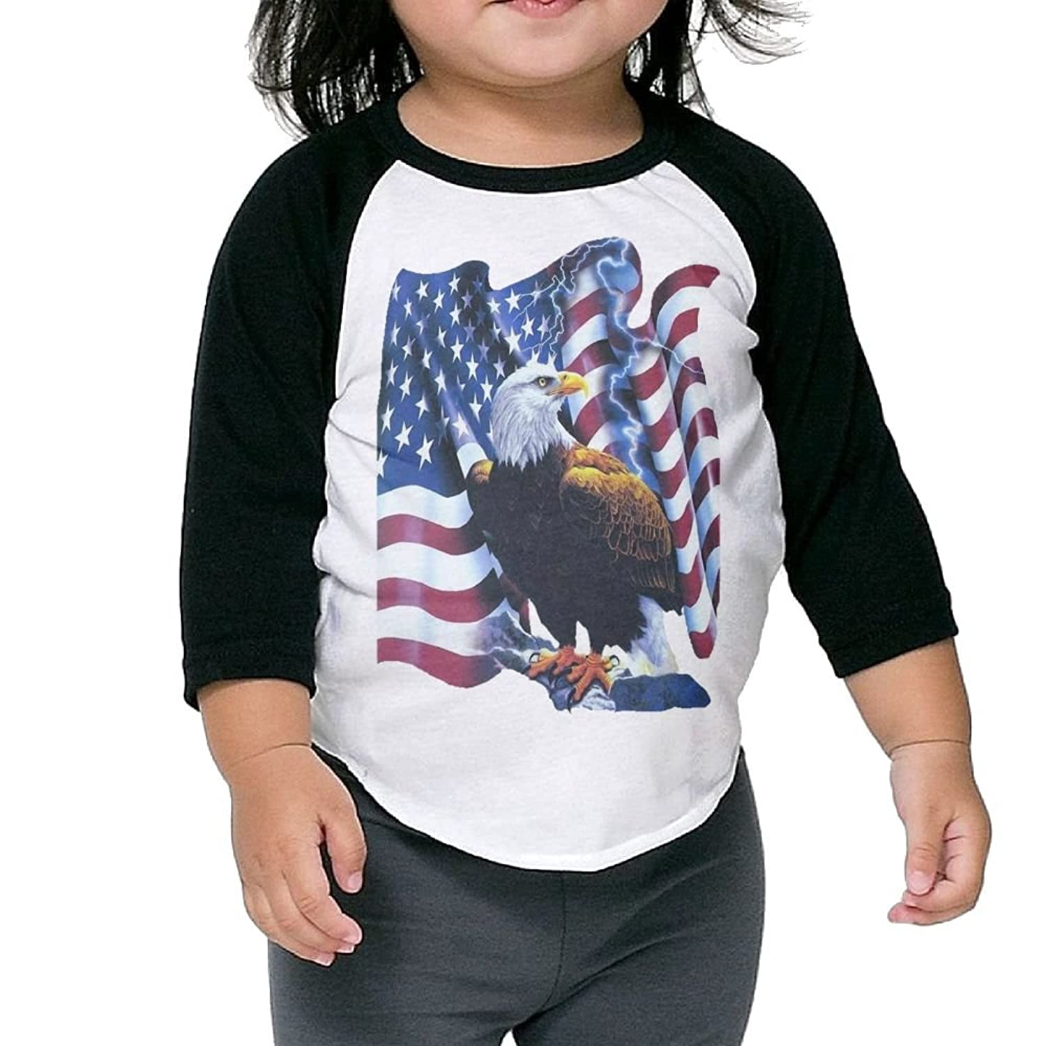 Hot CHENLY Unisex Kid's Sleeves Comfortable United State Flag Eagle Lingtning Cotton 3/4 Sleeves T-Shirt For children