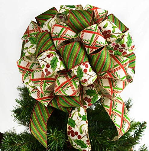 - Gift Bow | Christmas Tree Bow Topper | Tree Topper Bow | Red Ivory Lime Green Holly Berries : TB18