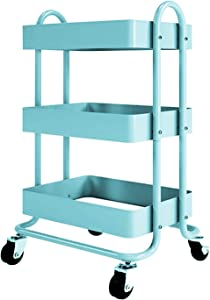 LANKUN Metal Mesh Rolling Utility Cart 3 Tier Metal Utility Cart with Handle and Lockable Wheels for Office Kitchen Sky Blue