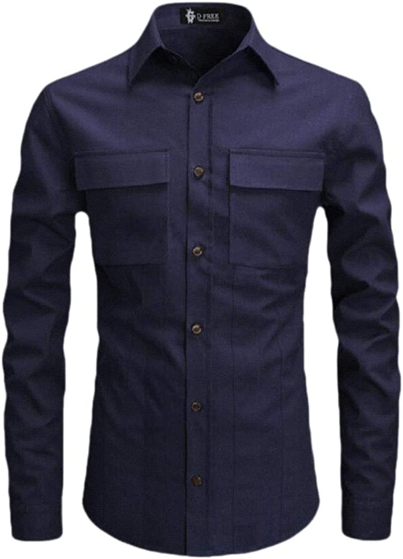 Mens Slim Fit Tops Long Sleeve Embroidered Shirts Button Down Shirt
