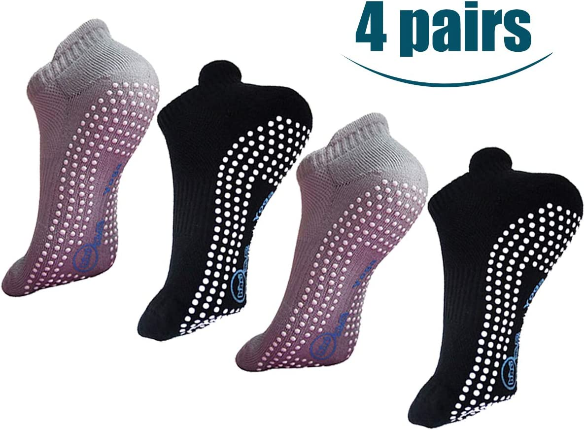 Non Slip Skid Socks with Grips for Yoga,Barre Pilates,PiYo,Men and Women,2 Pairs Black And 2 Pairs Grey: Clothing