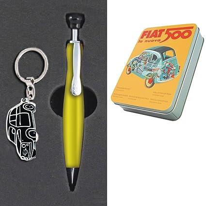 Fiat 500 caja de bolígrafo y llavero: Amazon.es: Oficina y ...