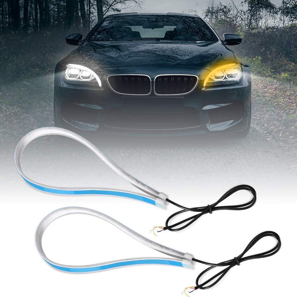 Qiilu 60cm Flexible Car Bulbs Cuttable LED Light Tube Double Color Running Light for Universal Car Turn Signal Light