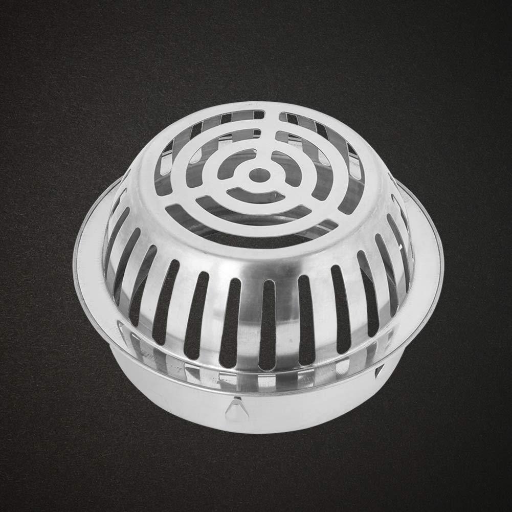 Balkon-Gebrauch 75mm//3in Edelstahl-runder Form-Bodenablauf f/ür Hauptbadezimmer-Duschraum-Toilette W/äscherei-Garten im Freien