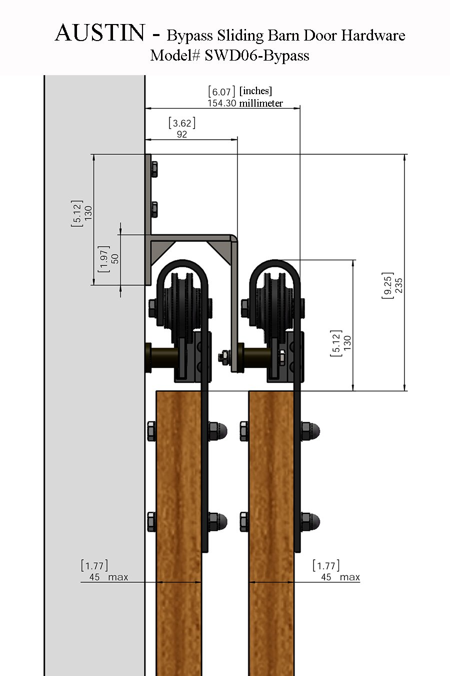 sbd AUSTIN - 8' feet - 98'' 2.5 m Rail DOUBLE BYPASS Sliding Barn Door Hardware Rustic Antique Classic Country Track RailSteel extra long by LuxuryModernHome.com (Image #3)