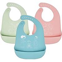 Baberos de bebé para niños Babero de silicona impermeable con niños de bolsillo, juego de 3 colores, grado alimenticio/Extra sueves/comodos/Fáciles de Limpiar/Anti-Rayaduras para niños pequeños