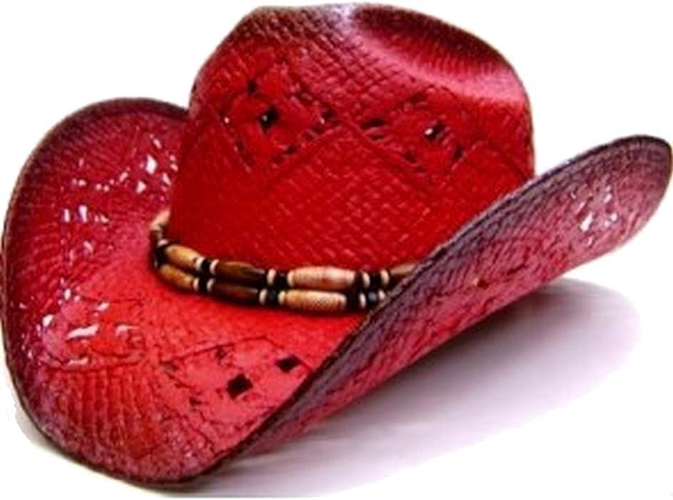 Modestone Women s Straw Cowboy Hat Red Black b33dd90939e