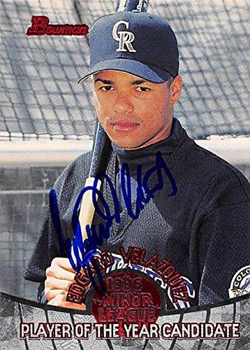 Edgard Velazquez autographed baseball card (Colorado Rockies, FT) 1996 Bowman Minor League #POY15 - Baseball Slabbed Autographed Cards