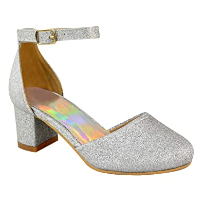 34a3d77c95dcd Childrens Girls Kids MID Low HIGH Heel Diamante Party Shoes Bridal Sandals  Size