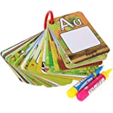 Water Reveal Word Card Water Drawing Doodle Card Book Paint with Water Reusable No Chemicals No Mess Doodle Pad Word Flash Card Educational Toy for Kids, 2 Magic Pen Included, 26 Pieces