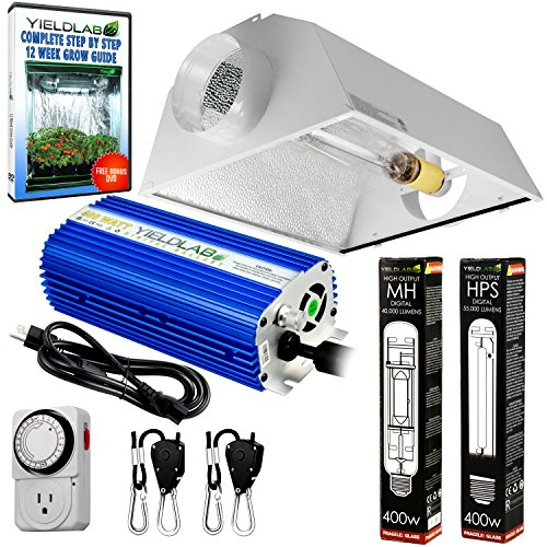 400w Cool - Yield Lab Horticulture 400w HPS MH Grow Light Cool Hood Reflector Kit Easy Setup Full Spectrum System For Indoor Plants And Hydroponics - Free Timer and 12 Week Grow Guide DVD
