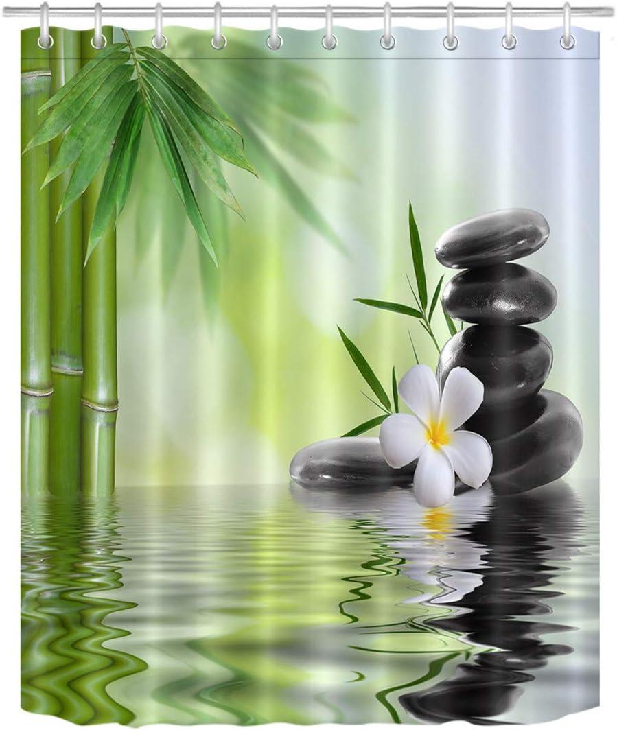 Orchid/ées Tissu Anti-moisissure en Polyester r/ésistant /à leau avec Crochets LB Rideau De Douche Pierres Noires Rideau de Salle de Bain en Bambou 150W x180H CM