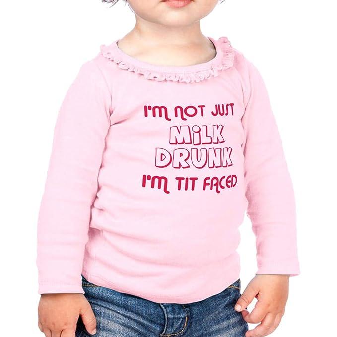 Amazon.com  I m Not Milk Drunk I m Tit Faced Cotton Toddler Long Sleeve  Ruffle Shirt Top  Clothing 89cbae7b7