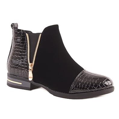 Botines para mujer negro piel sintética & Ante con cremallera dorada, Negro (negro), 37: Amazon.es: Zapatos y complementos