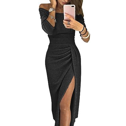 192cbec7afeeb Women's Long Sleeve Ruched Thigh Slit Off Shoulder Dress Solid Color ...