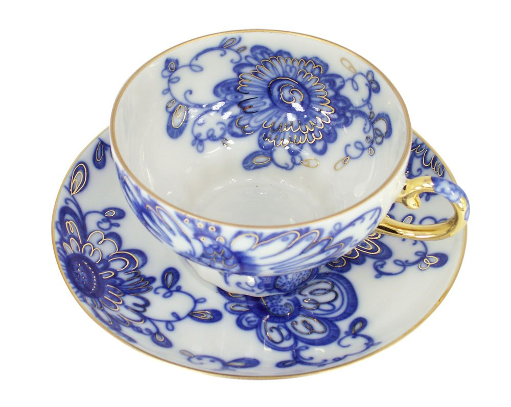 Lomonosov Porcelain Set Singing Garden 2pc Cup and Saucer 7.8 fl.oz//230 ml