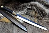 Yoshihiro VG-10 Stainless Steel Mirror Finished Yanagi Kiritsuke Sushi Sashimi Japanese Knife Ebony Handle Sterling Silver Ring with Lacquered Nuri Saya Cover (11.8'' (300mm))