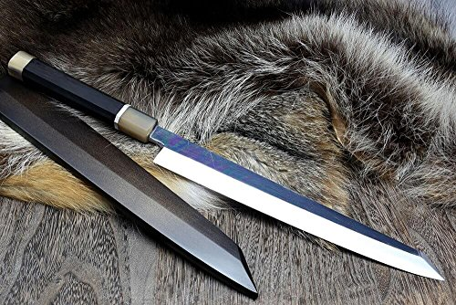 Yoshihiro VG-10 Stainless Steel Mirror Finished Yanagi Kiritsuke Sushi Sashimi Japanese Knife Ebony Handle Sterling Silver Ring with Lacquered Nuri Saya Cover (11.8'' (300mm)) by Yoshihiro