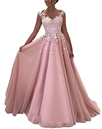 Yahmet Womens Tulle Prom Dresses Long with Appliques Evening Gown Elegant Formal Party Dress 2018 Blush