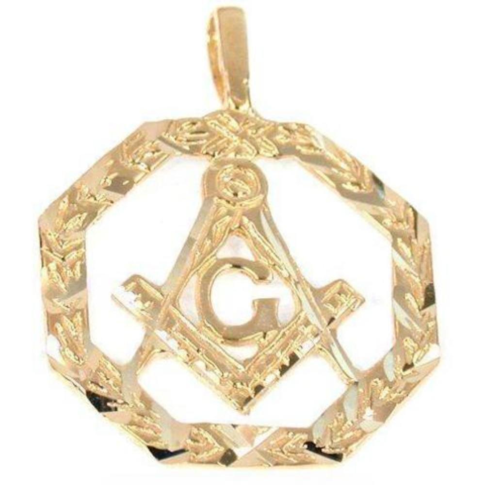 14K Gold Charm Masonic Freemason Pendant Jewelry Part
