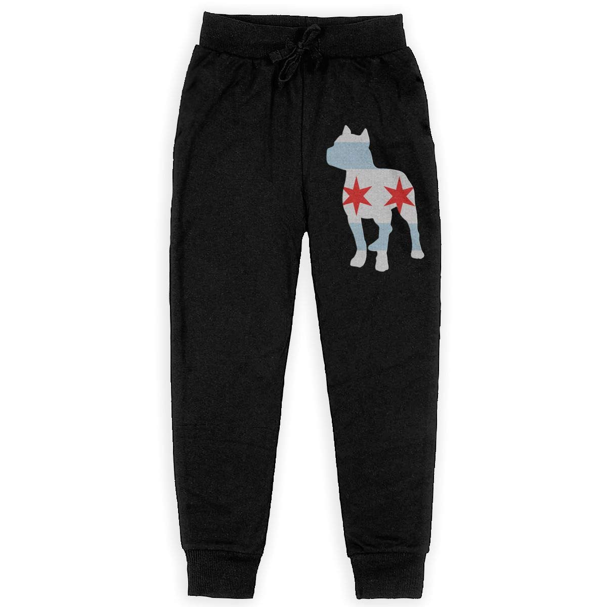 Girls Active Basic Jogger Fleece Pants for Teen Girls WYZVK22 Patriotic Pitbull Chicago Flag Soft//Cozy Sweatpants