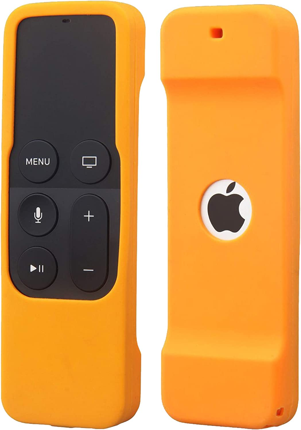 Remote Case Compatible with Apple TV 4K (5th) and 4th Generation, Auswaur Shock Proof Silicone Remote Cover Case Compatible with Apple TV 4th Gen 4K 5th Siri Remote Controller - Orange