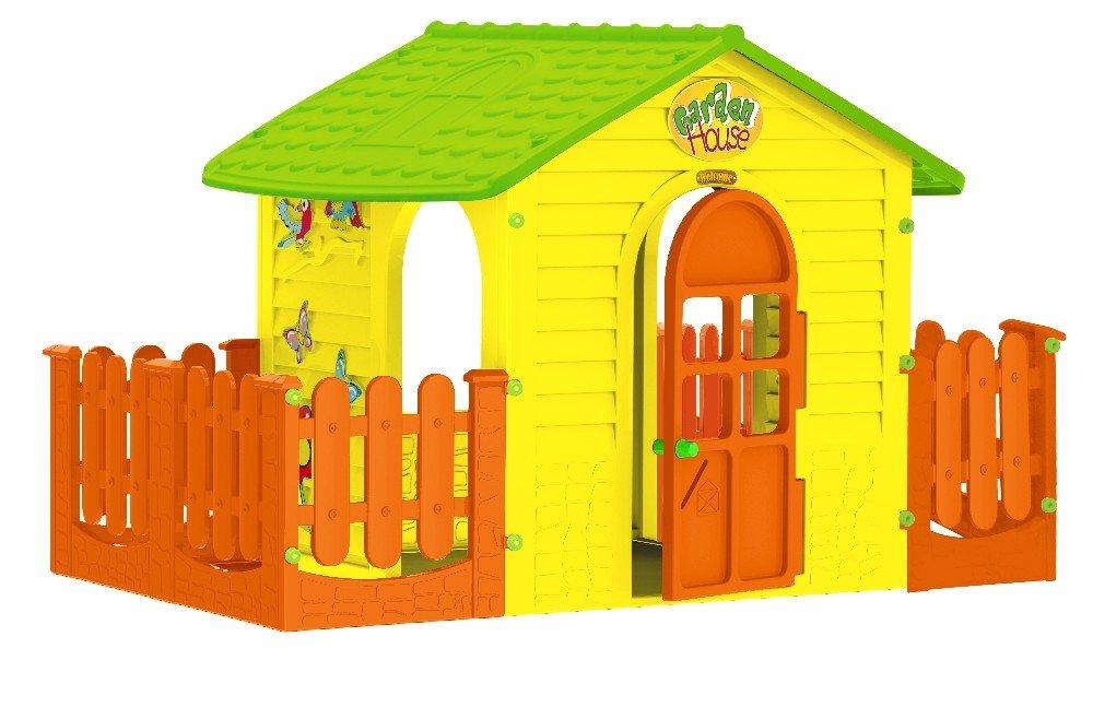 Spielhaus für drinnen und draußen gelb mit Zaun