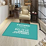 Motivational Bath Mats for floors Hipster Letters Saying Advice Believe in Your Dreams Have Faith in Yourself Bath Mat Bathroom Mat with Non Slip 30''x48'' Teal White