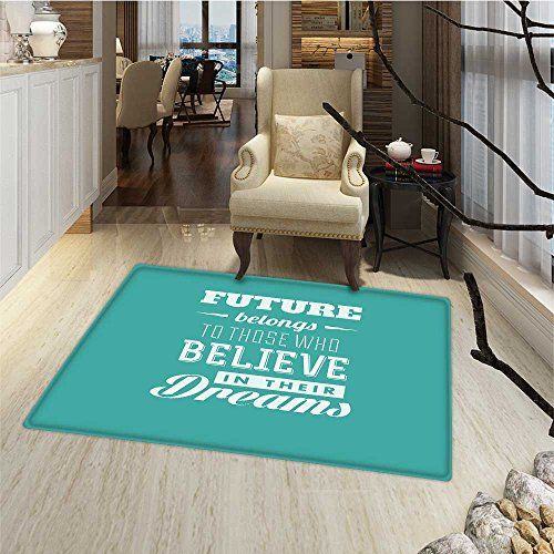 Motivational Bath Mats for floors Hipster Letters Saying Advice Believe in Your Dreams Have Faith in Yourself Bath Mat Bathroom Mat with Non Slip 30''x48'' Teal White by Anmaseven