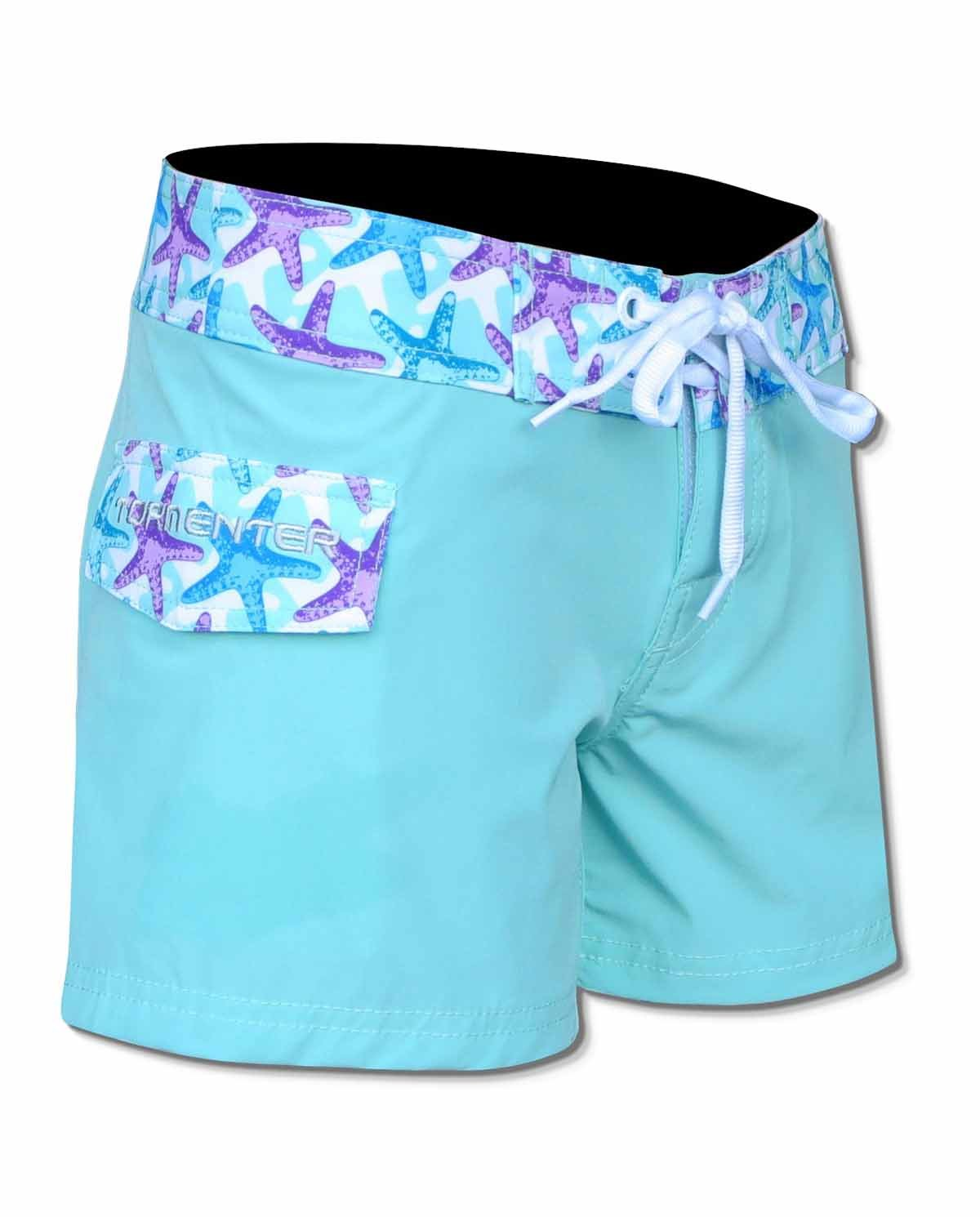 Tormenter Womens 8 Way Stretch SPF-35 Lightweight Ladies 3.5'' Board Shorts (12, Starfish)