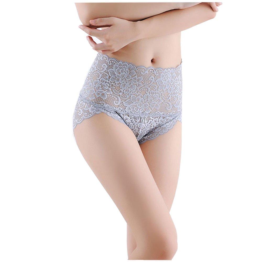 cool nik High Waisted Womens Panties, Women's Simplicity Fashion Seamless Stretch Lace Briefs Panties Grey M
