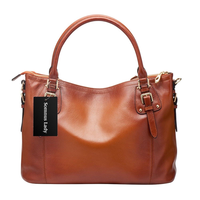 Somnus Lady Leather Shoulder Bag, Women Vintage Tote, Ladies Top-Handle Large Capacity Girls Handbag