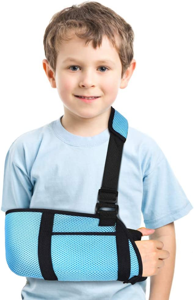 Arm Sling for Kids, Medical Child Arm Sling with Waist Strap, Padded Children Arm Support Sling Shoulder Immobilizer for Broken Elbow, Wrist, Arm, Shoulder Injury, Rotator Cuff, Left or Right Arm