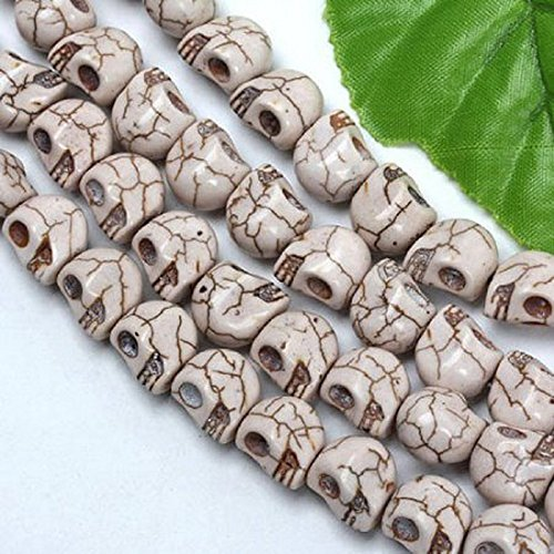 12pcs 12mm Dyed White Gemstone Beads Carved Skull Skeleton Bead fit for Bracelet by Beautiful Bead
