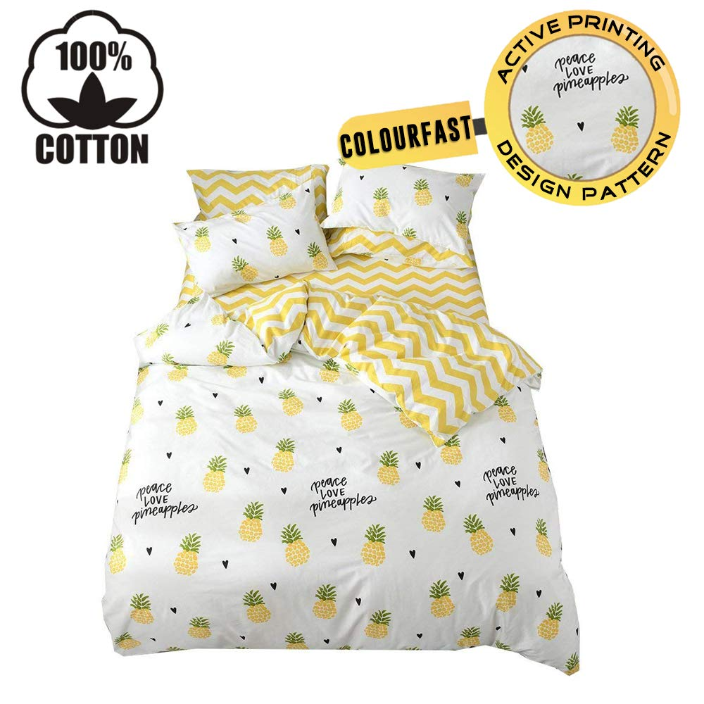 XUKEJU 100% Cotton Soft Children/Adults Duvet Cover Set Yellow/White Fruits Printed Pattern Reversible Boys Girls Bedding Set Pineapple 3 Pieces with 2 Pillow Cases Best Bedding Gifts Twin Size