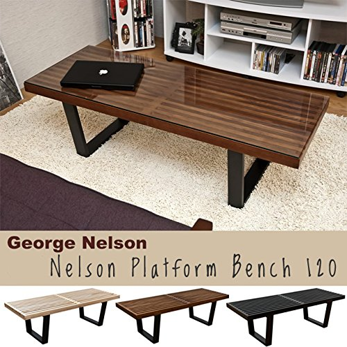 MLF George Nelson Platform Bench (3, Wooden Entryway Bench, 4 Feet in Dark Walnut Painted Ash Wood by MLF (Image #5)