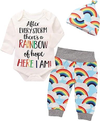 Rehomy - Conjunto de ropa de algodón de manga larga, 3 piezas, para recién nacido, niña, niña, bebé, niño, arcoíris y pantalones: Amazon.es: Ropa y accesorios