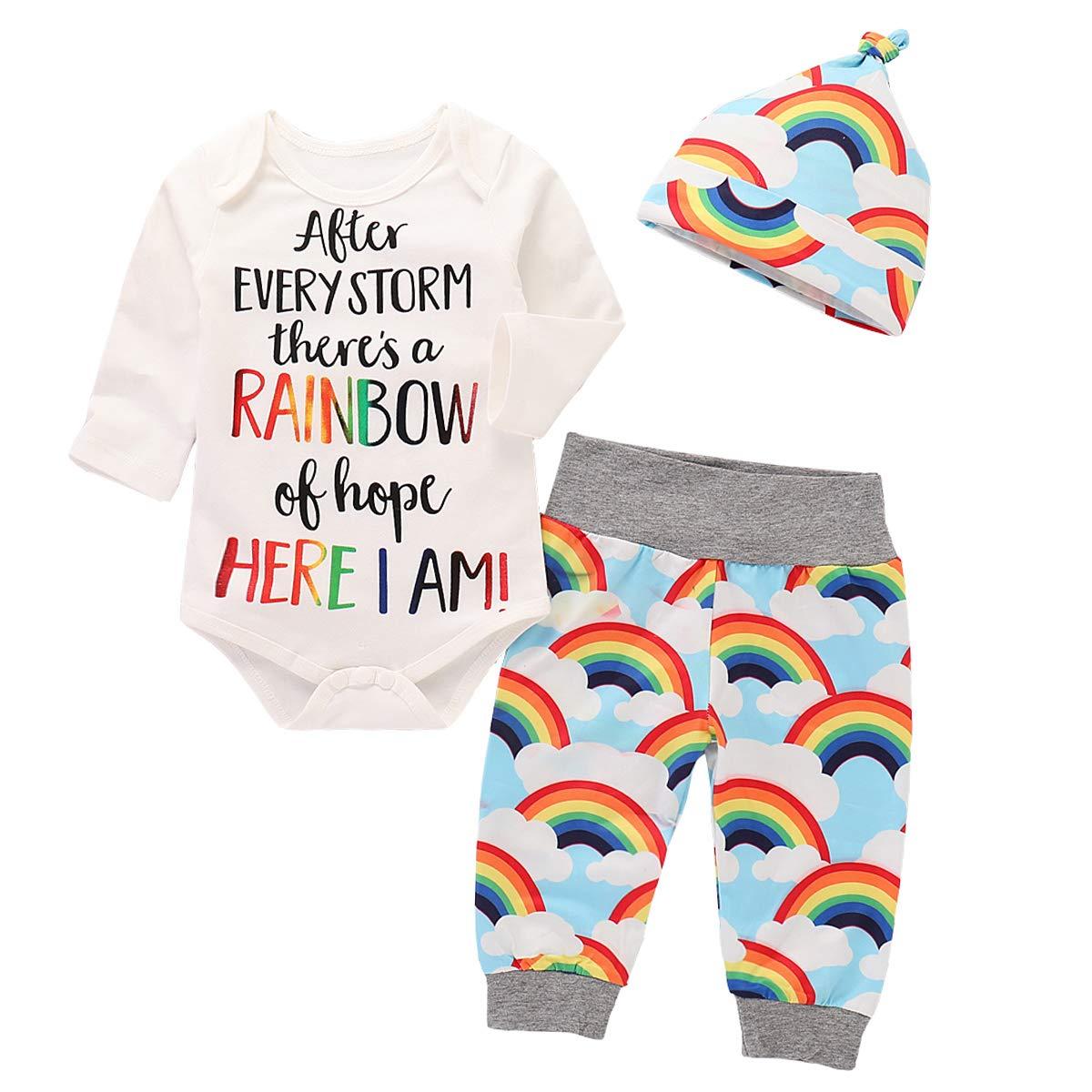 puseky PANTS ベビーガールズ 6 - 12 Months White+rainbow B07JPM5J8T